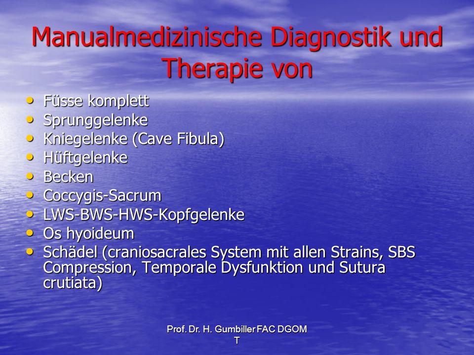 Manualmedizinische Diagnostik und Therapie von