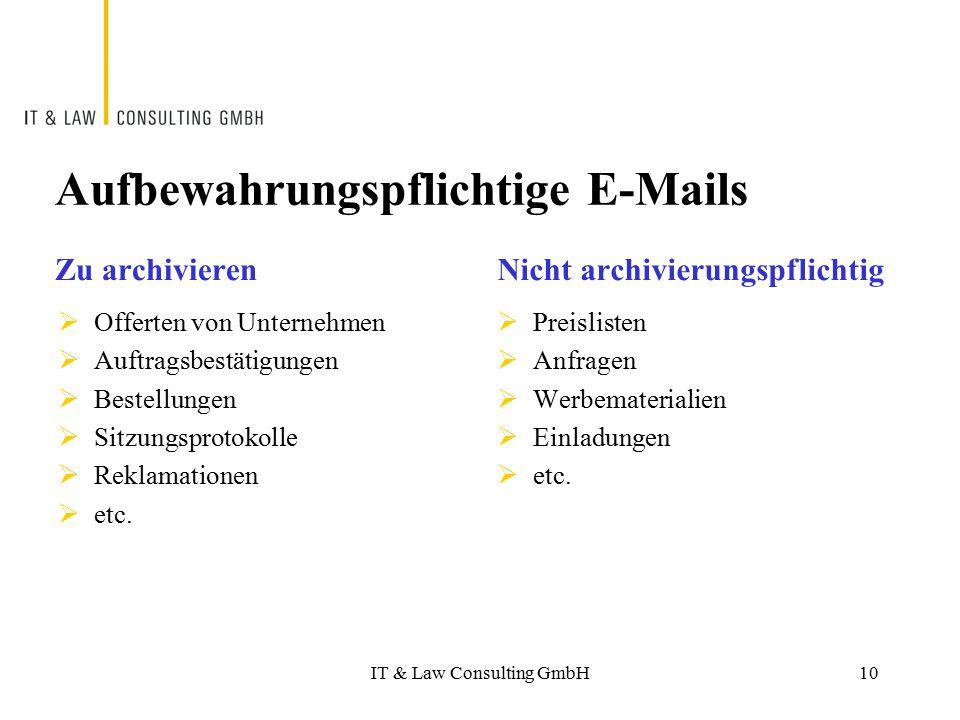 Aufbewahrungspflichtige E-Mails