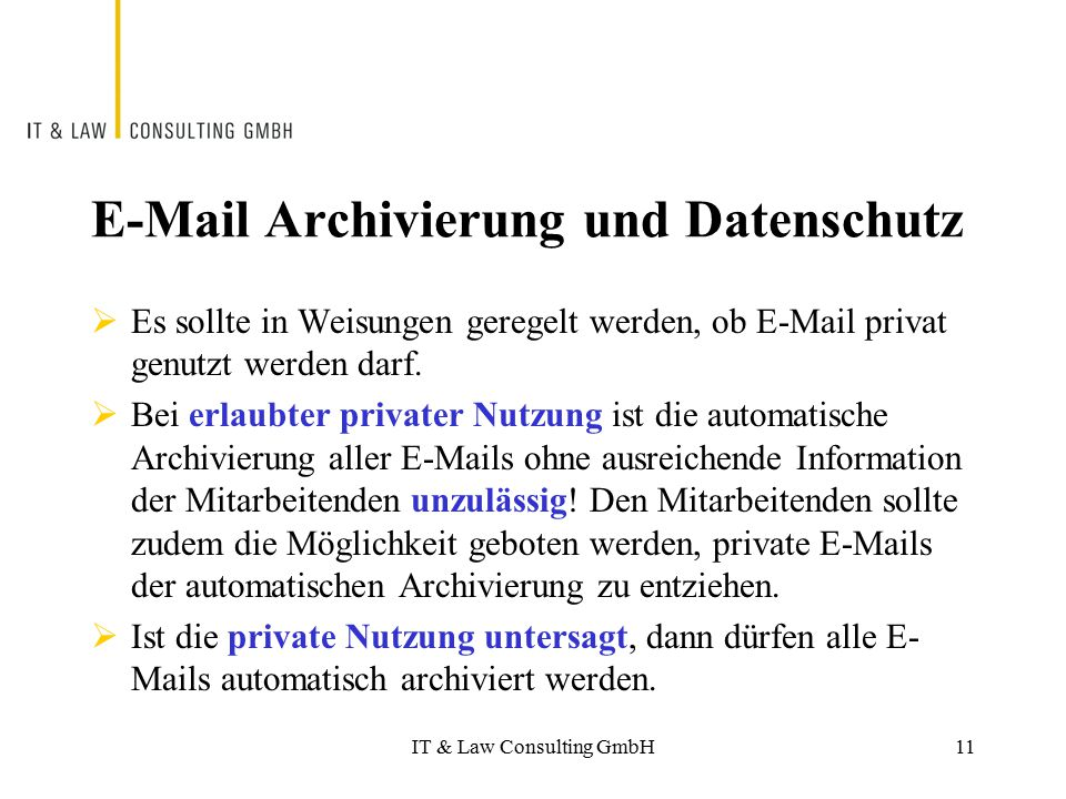 E-Mail Archivierung und Datenschutz