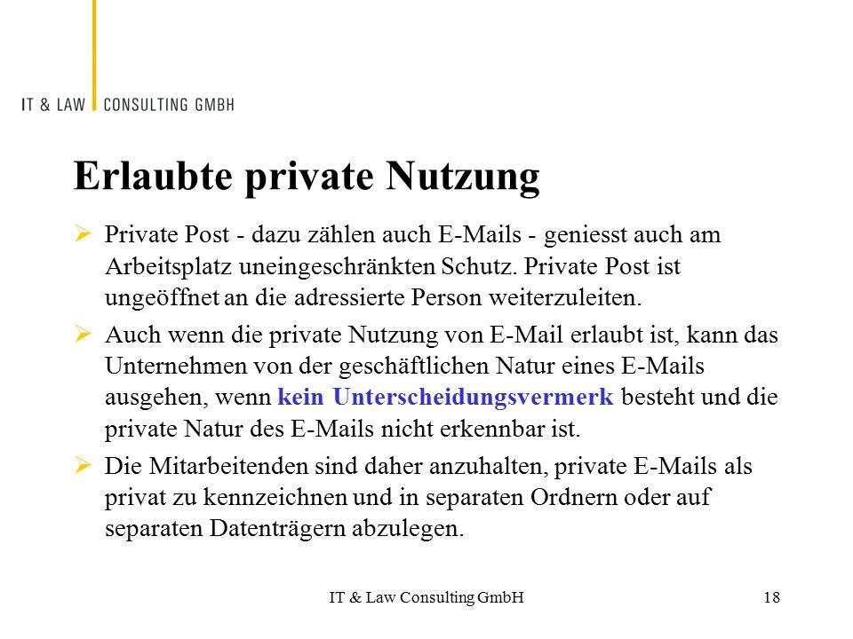 Erlaubte private Nutzung