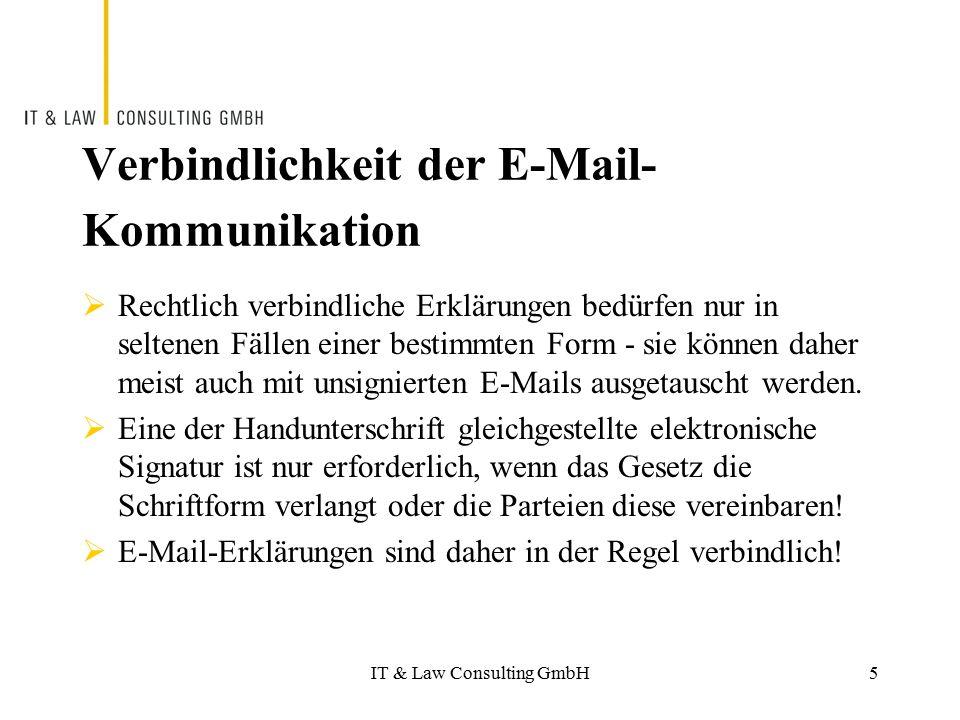 Verbindlichkeit der E-Mail-Kommunikation