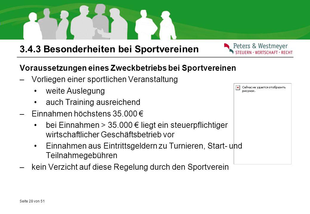 3.4.3 Besonderheiten bei Sportvereinen