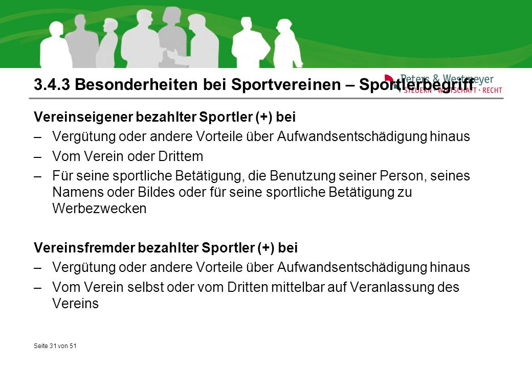 3.4.3 Besonderheiten bei Sportvereinen – Sportlerbegriff