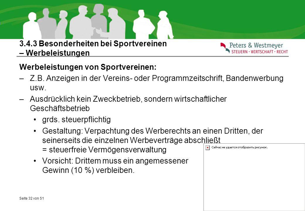 3.4.3 Besonderheiten bei Sportvereinen – Werbeleistungen