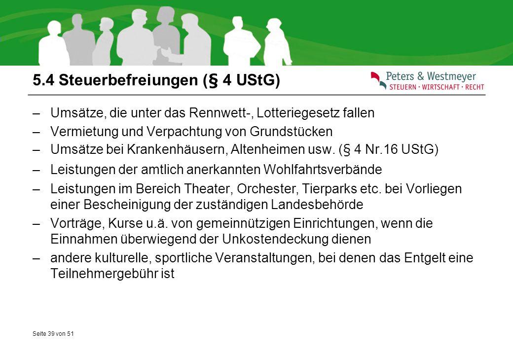 5.4 Steuerbefreiungen (§ 4 UStG)
