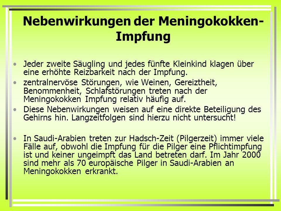 Nebenwirkungen der Meningokokken-Impfung