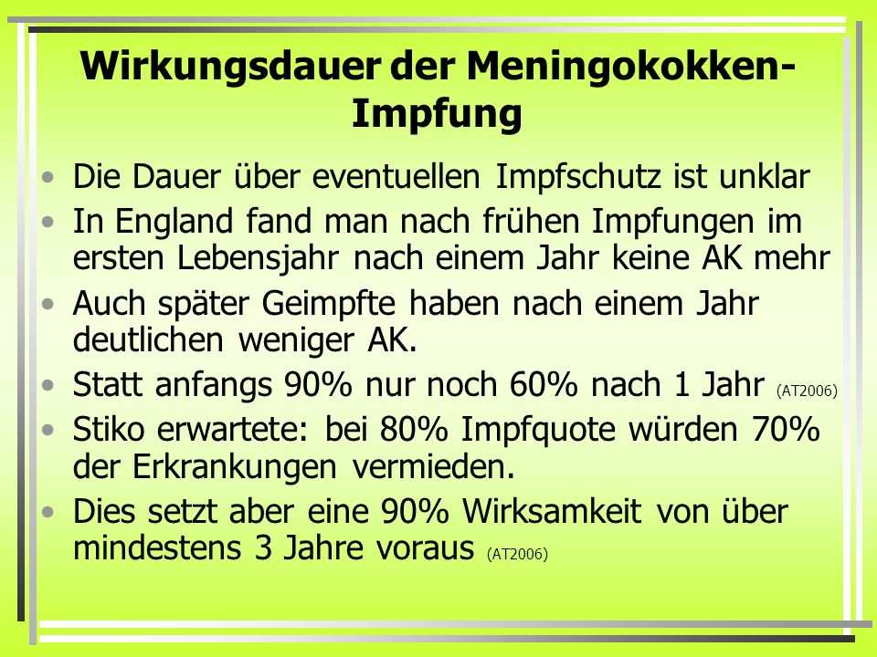 Wirkungsdauer der Meningokokken-Impfung