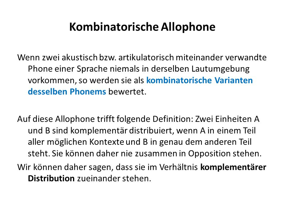 Kombinatorische Allophone
