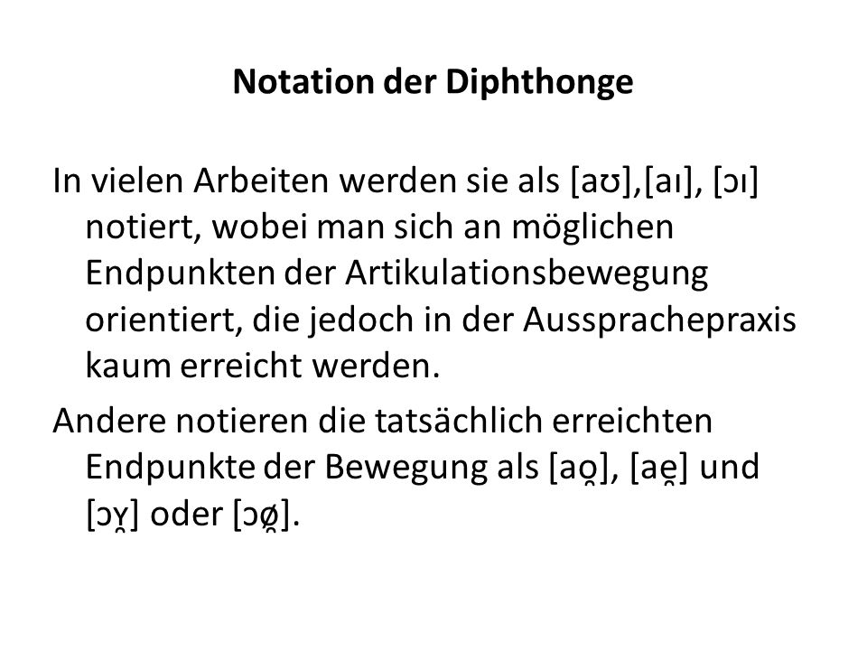 Notation der Diphthonge
