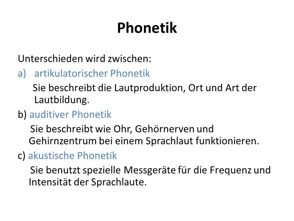 Phonetik Unterschieden wird zwischen: artikulatorischer Phonetik
