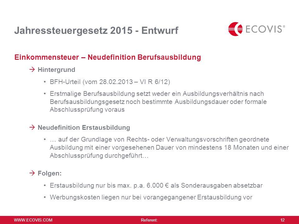Jahressteuergesetz 2015 - Entwurf
