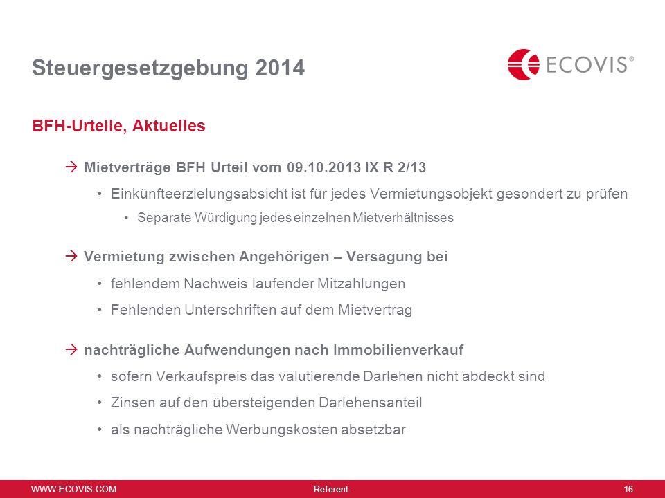 Steuergesetzgebung 2014 BFH-Urteile, Aktuelles