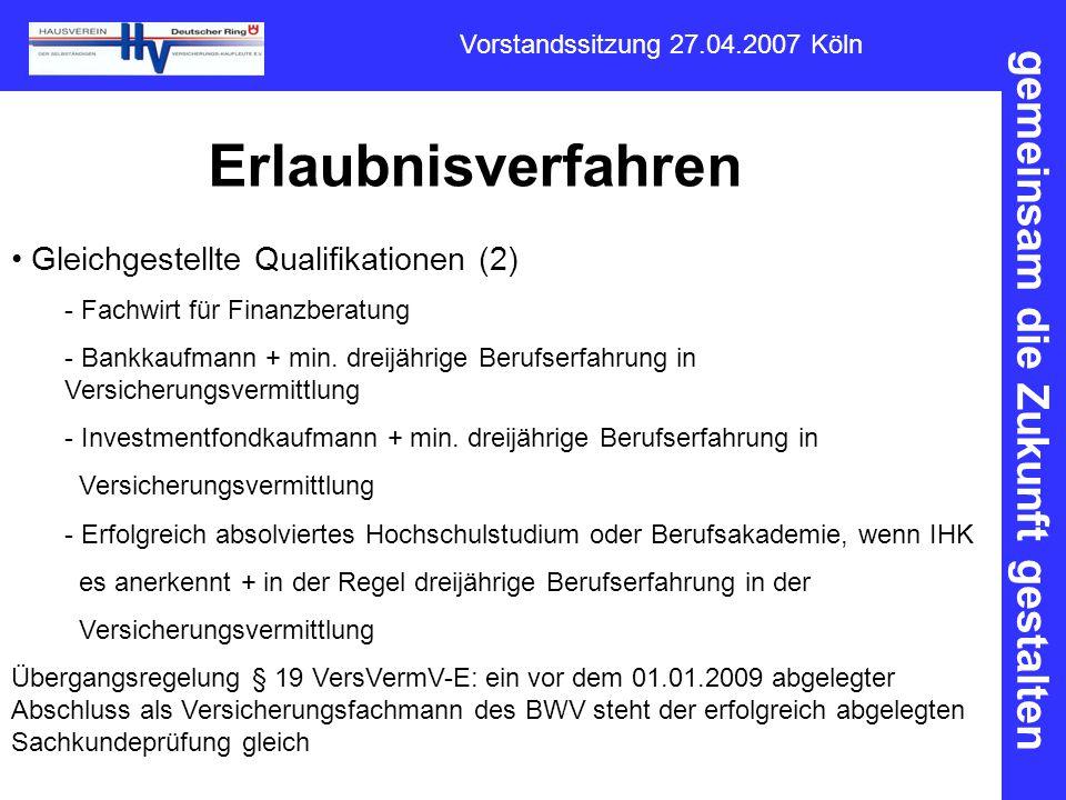 Erlaubnisverfahren Gleichgestellte Qualifikationen (2)