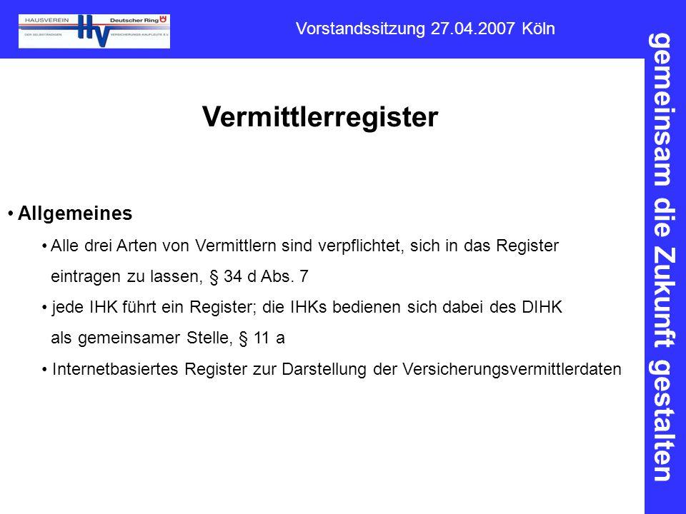 Vermittlerregister Allgemeines