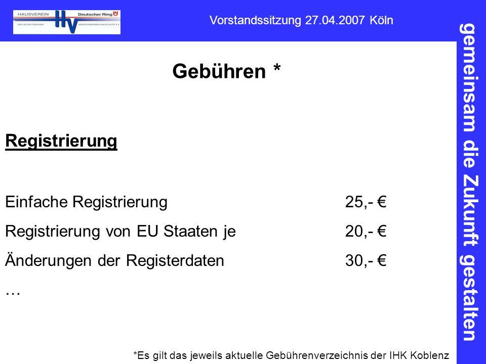 Gebühren * Registrierung Einfache Registrierung 25,- €
