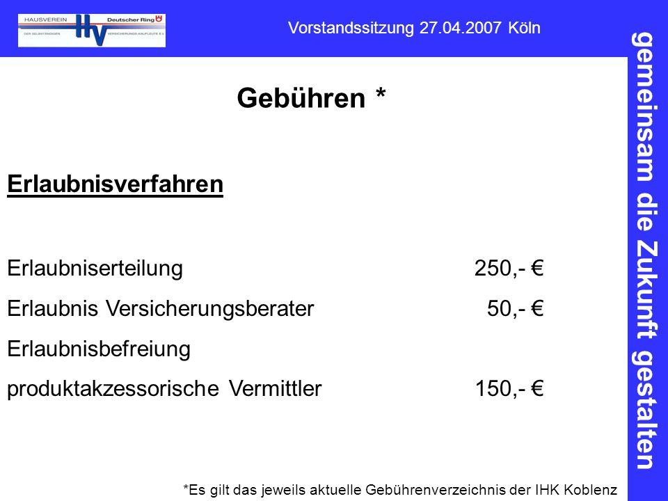 Gebühren * Erlaubnisverfahren Erlaubniserteilung 250,- €