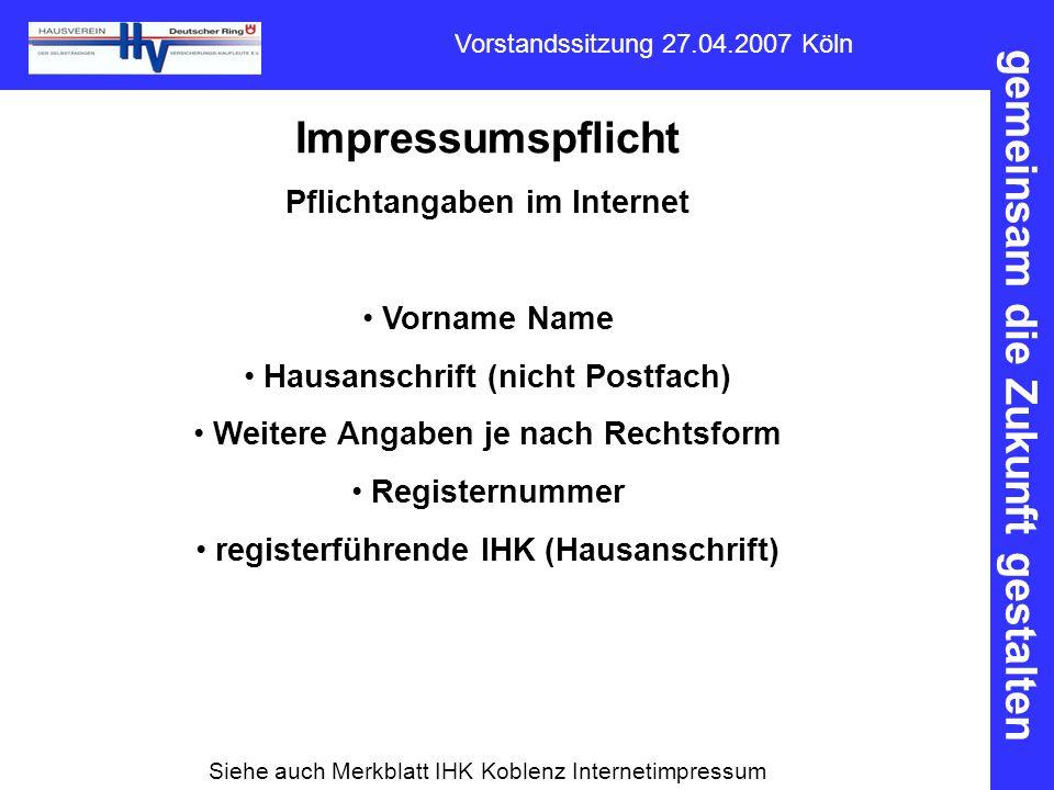 Impressumspflicht Pflichtangaben im Internet Vorname Name
