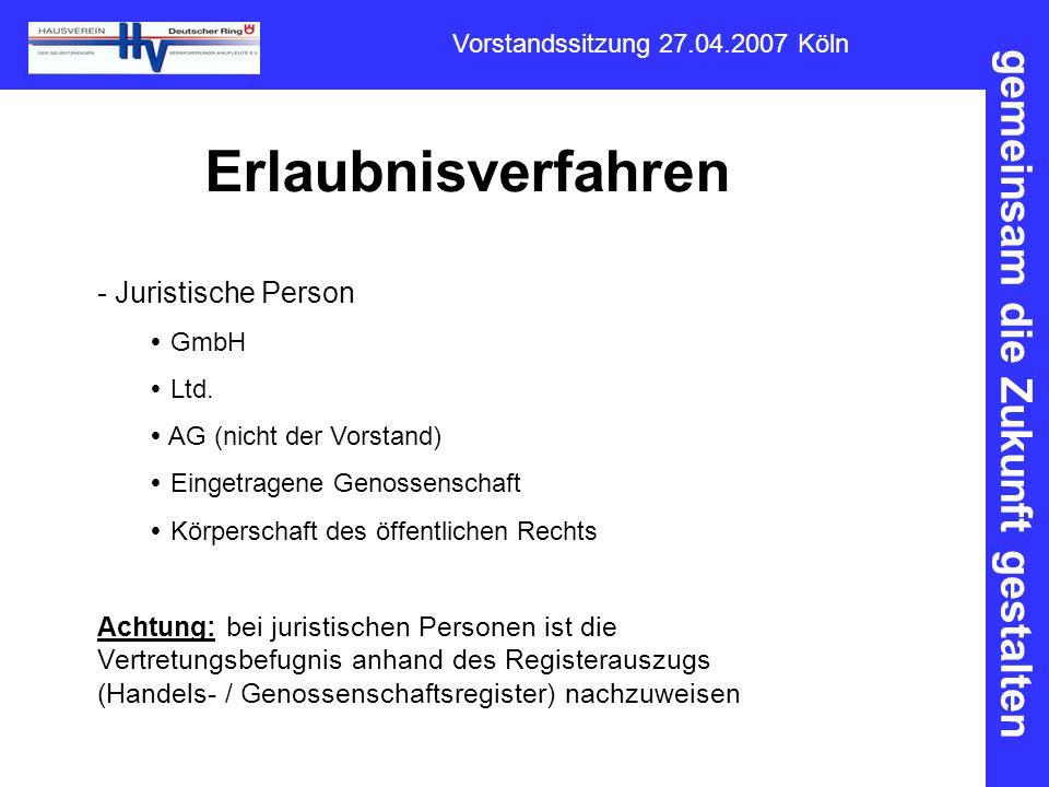 Erlaubnisverfahren Juristische Person