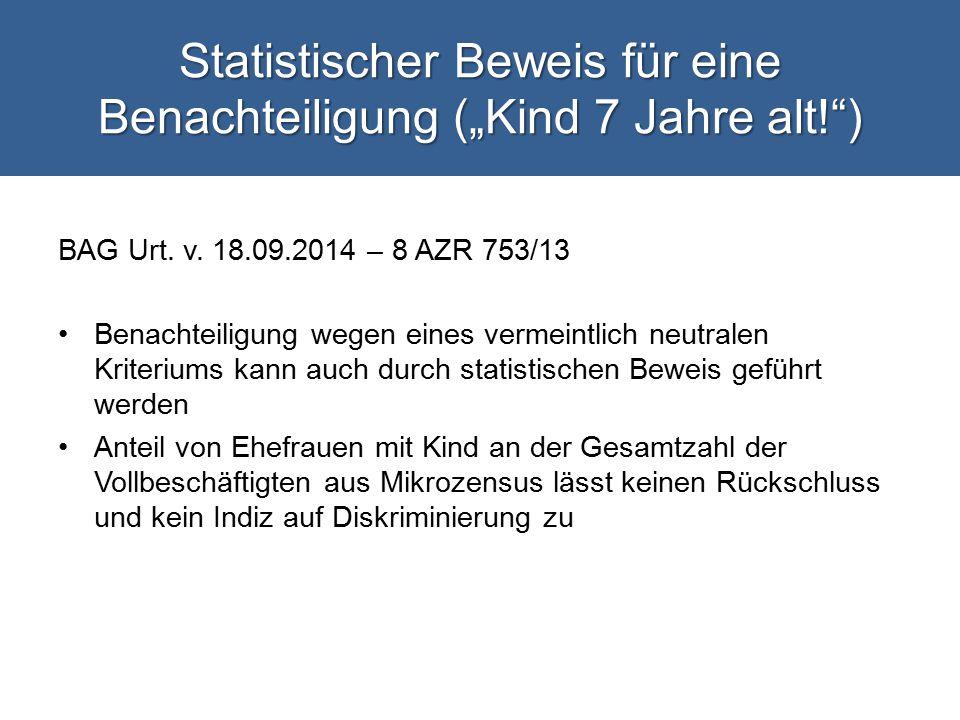 """Statistischer Beweis für eine Benachteiligung (""""Kind 7 Jahre alt! )"""