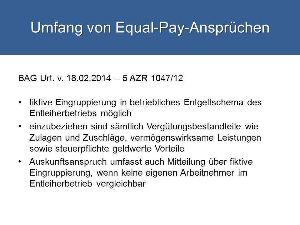 Umfang von Equal-Pay-Ansprüchen