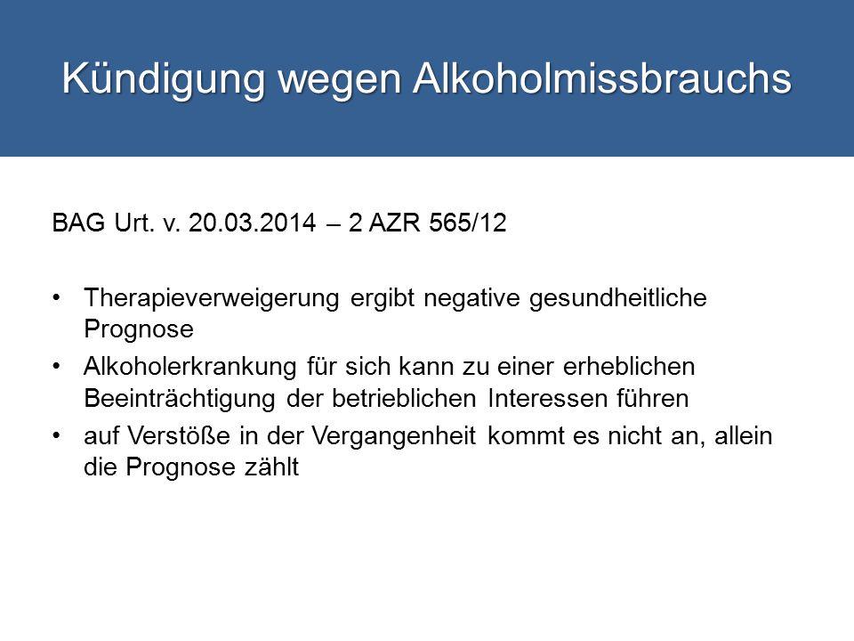 Kündigung wegen Alkoholmissbrauchs