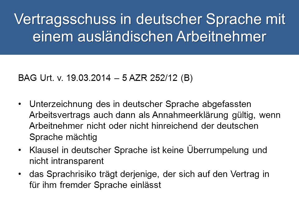 Vertragsschuss in deutscher Sprache mit einem ausländischen Arbeitnehmer