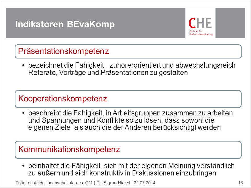 Indikatoren BEvaKomp Präsentationskompetenz Kooperationskompetenz