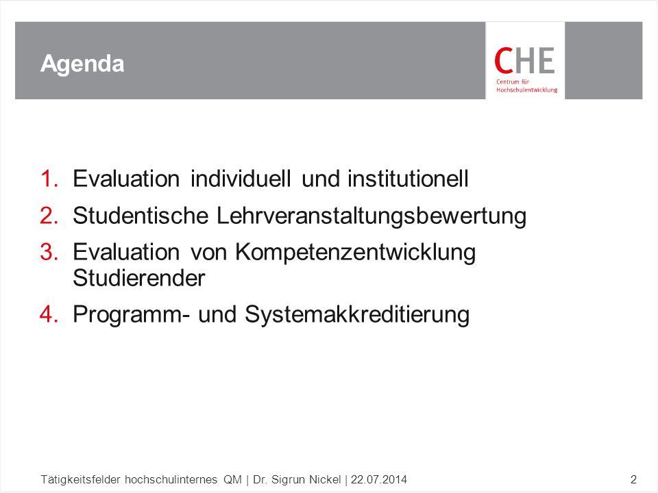 Evaluation individuell und institutionell