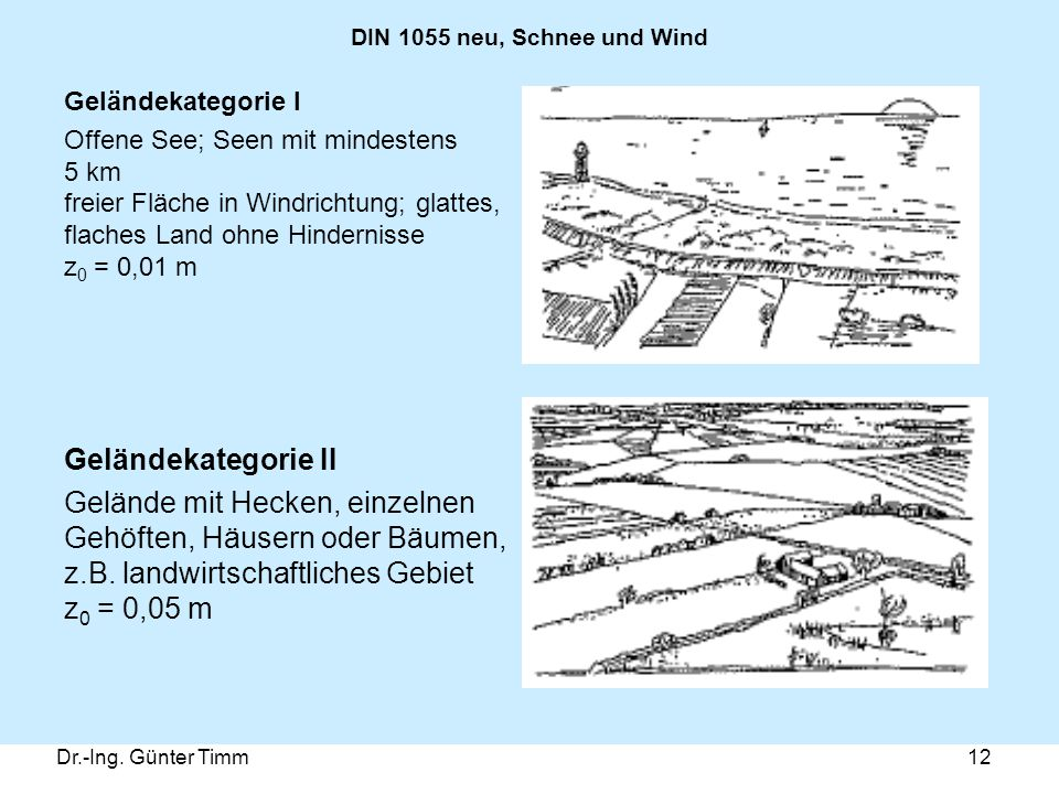 DIN 1055 neu, Schnee und Wind Geländekategorie I.