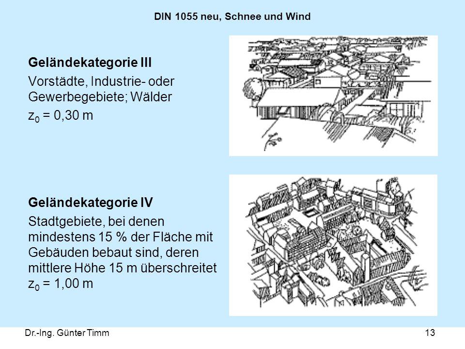 Vorstädte, Industrie- oder Gewerbegebiete; Wälder z0 = 0,30 m