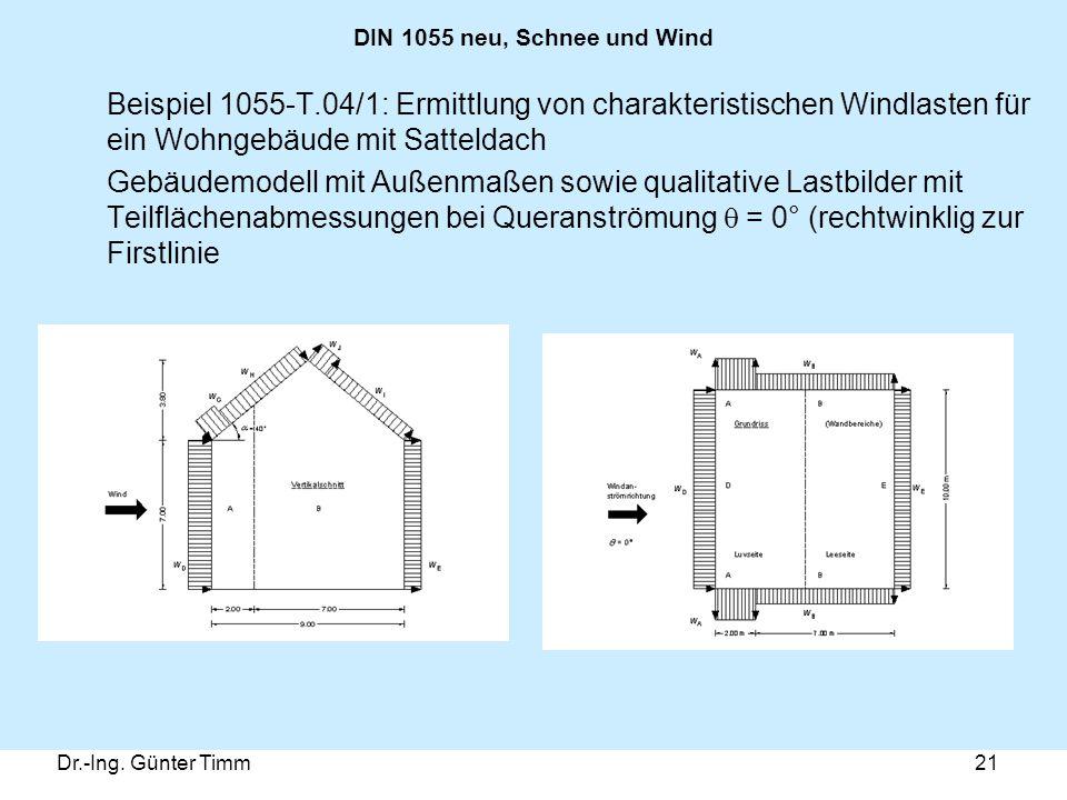 DIN 1055 neu, Schnee und Wind Beispiel 1055-T.04/1: Ermittlung von charakteristischen Windlasten für ein Wohngebäude mit Satteldach.