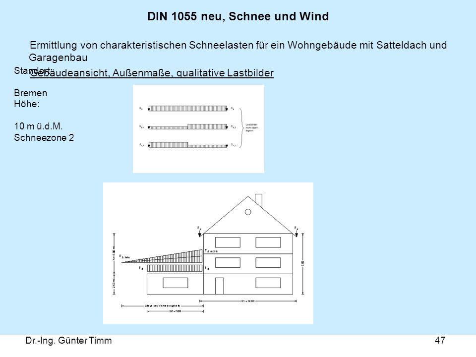 DIN 1055 neu, Schnee und Wind Ermittlung von charakteristischen Schneelasten für ein Wohngebäude mit Satteldach und Garagenbau.