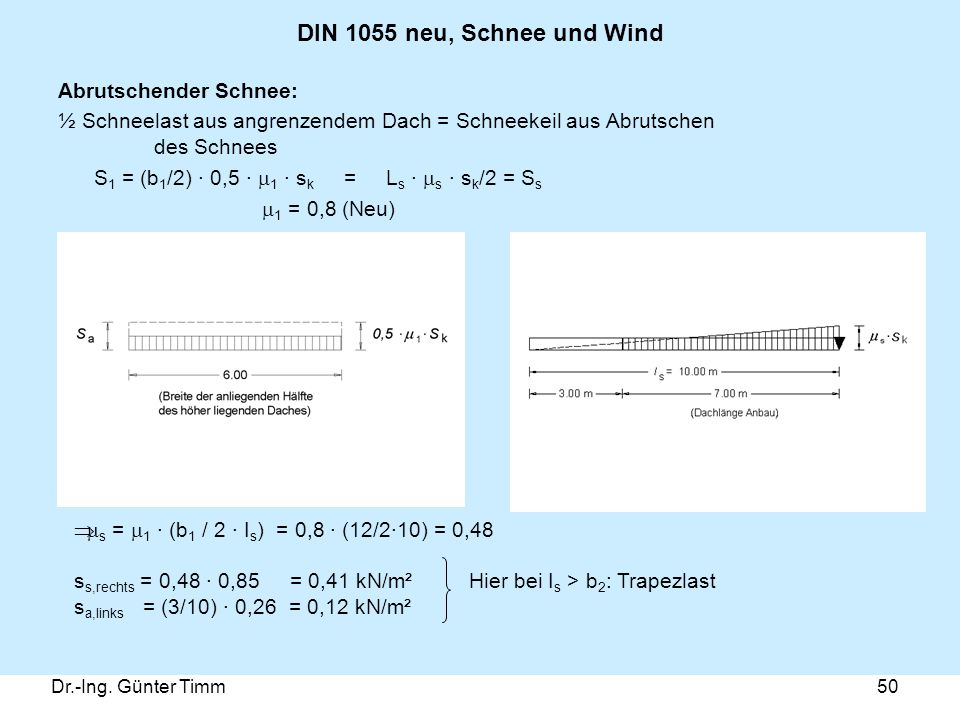 DIN 1055 neu, Schnee und Wind Abrutschender Schnee: