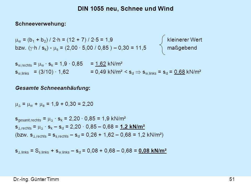 DIN 1055 neu, Schnee und Wind Schneeverwehung: