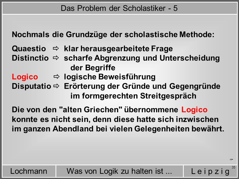 Das Problem der Scholastiker - 5