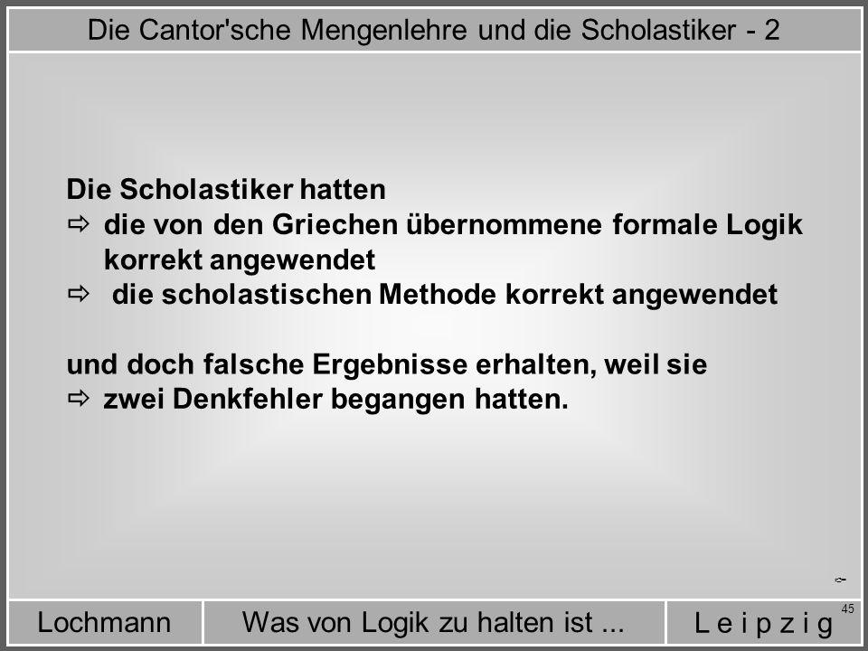 Die Cantor sche Mengenlehre und die Scholastiker - 2
