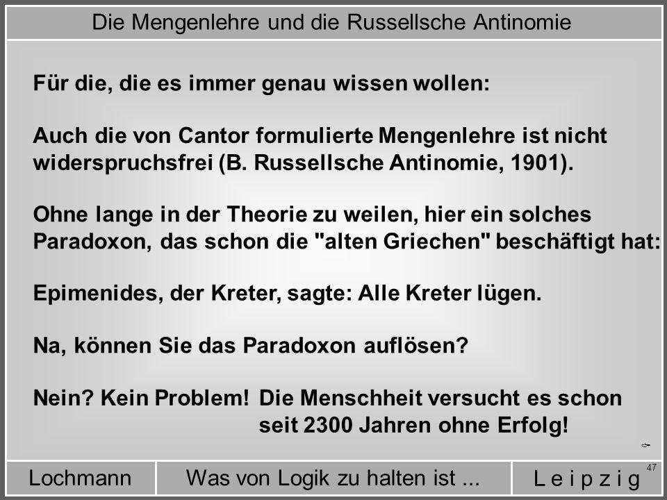 Die Mengenlehre und die Russellsche Antinomie