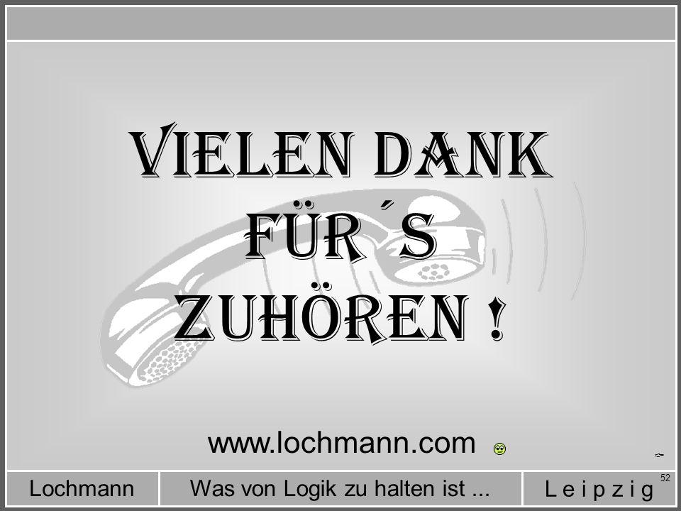 Vielen Dank für´s Zuhören ! www.lochmann.com C