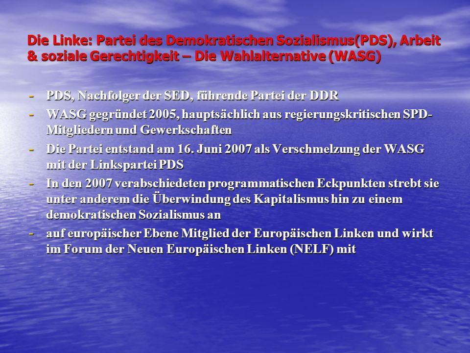 Die Linke: Partei des Demokratischen Sozialismus(PDS), Arbeit & soziale Gerechtigkeit – Die Wahlalternative (WASG)