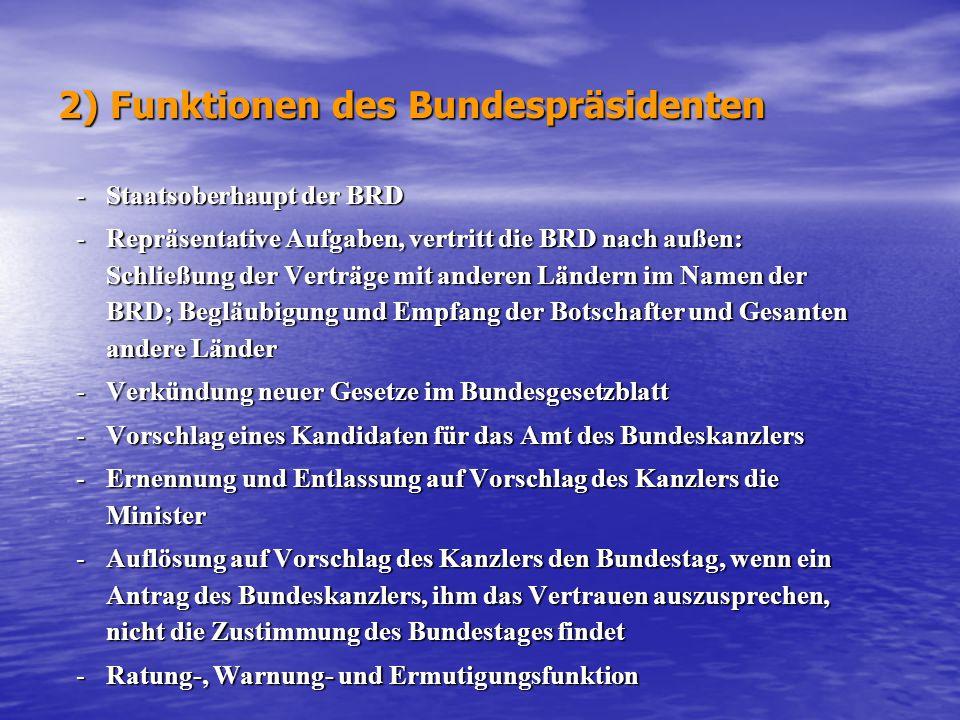2) Funktionen des Bundespräsidenten