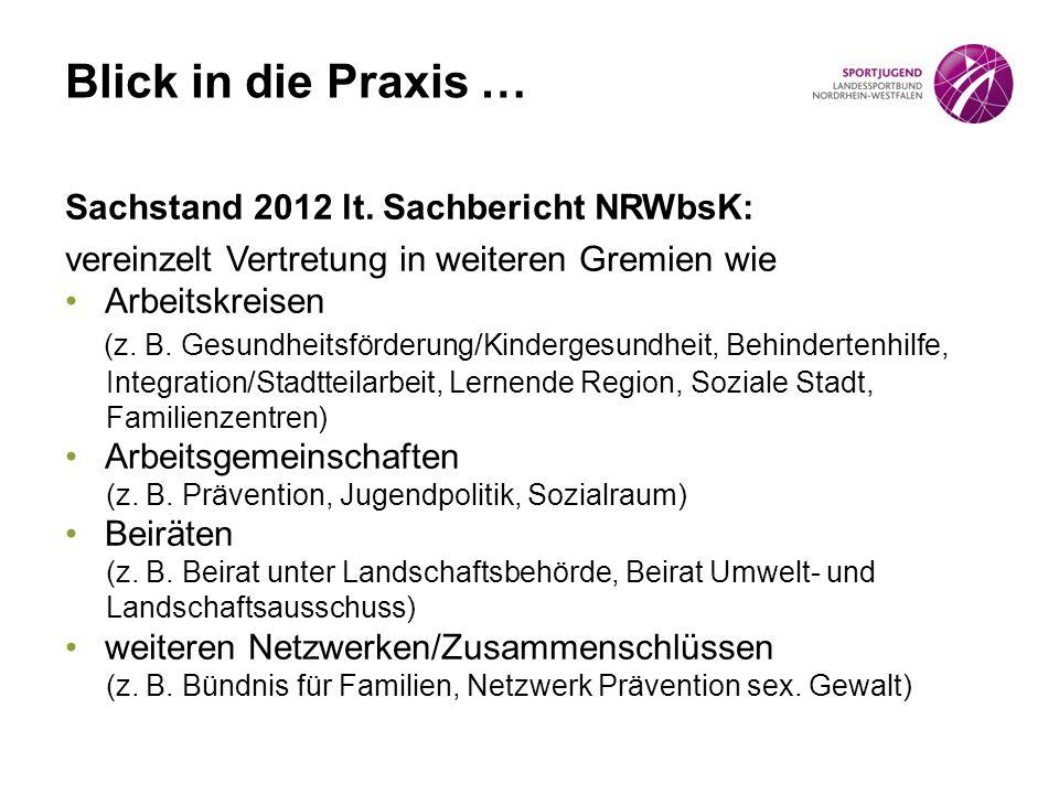 Blick in die Praxis … Sachstand 2012 lt. Sachbericht NRWbsK: