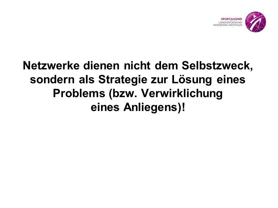 Netzwerke dienen nicht dem Selbstzweck, sondern als Strategie zur Lösung eines Problems (bzw.