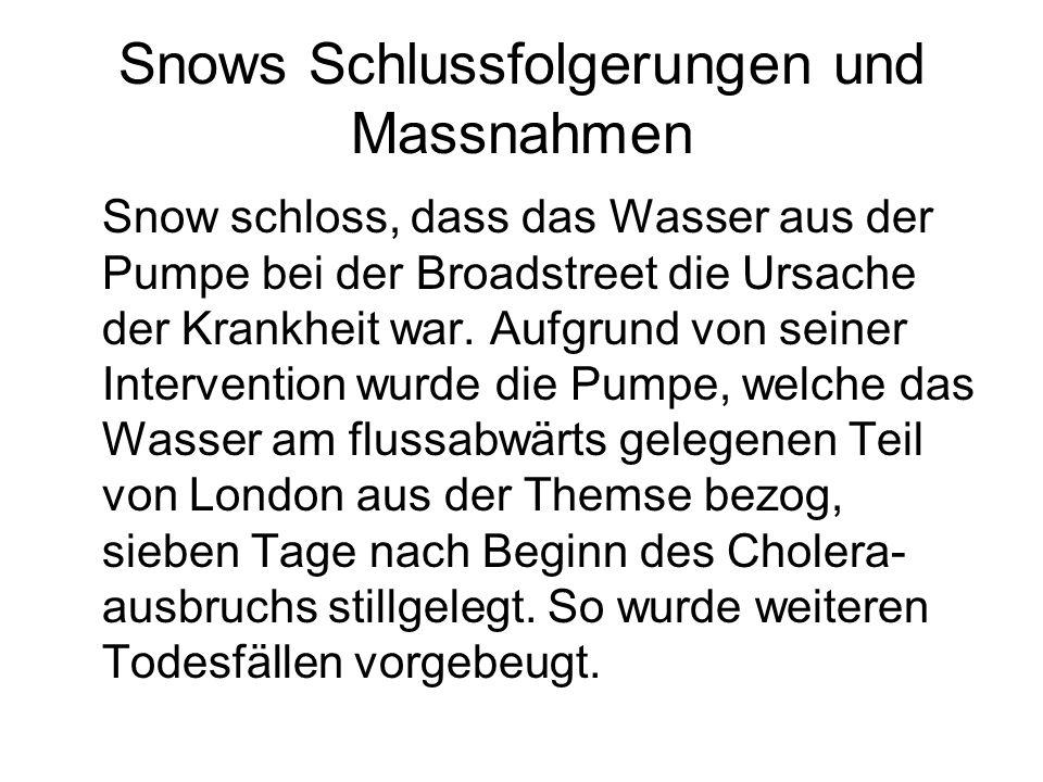 Snows Schlussfolgerungen und Massnahmen