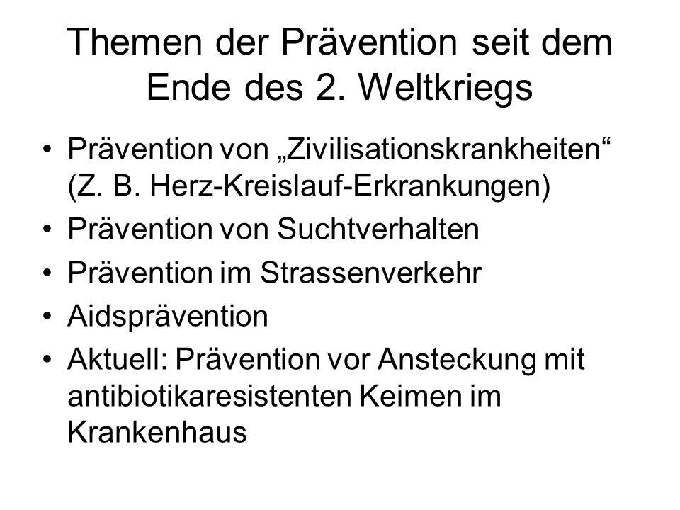 Themen der Prävention seit dem Ende des 2. Weltkriegs