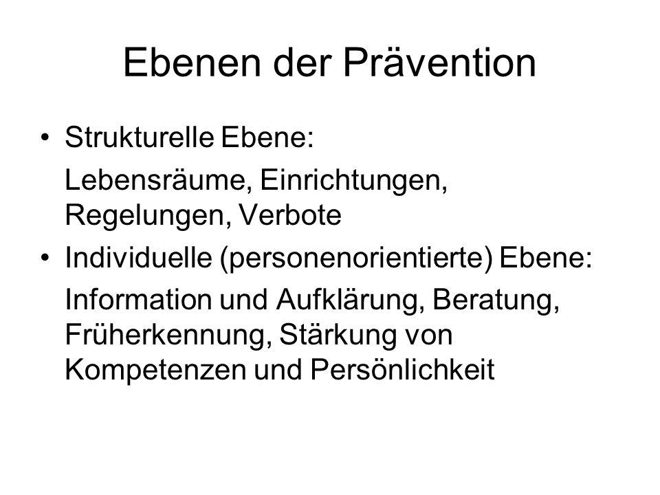 Ebenen der Prävention Strukturelle Ebene: