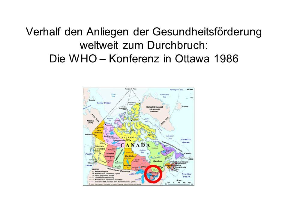 Verhalf den Anliegen der Gesundheitsförderung weltweit zum Durchbruch: Die WHO – Konferenz in Ottawa 1986