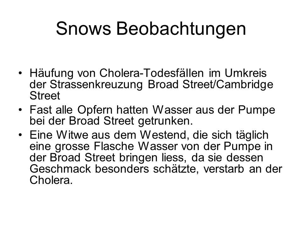 Snows Beobachtungen Häufung von Cholera-Todesfällen im Umkreis der Strassenkreuzung Broad Street/Cambridge Street.