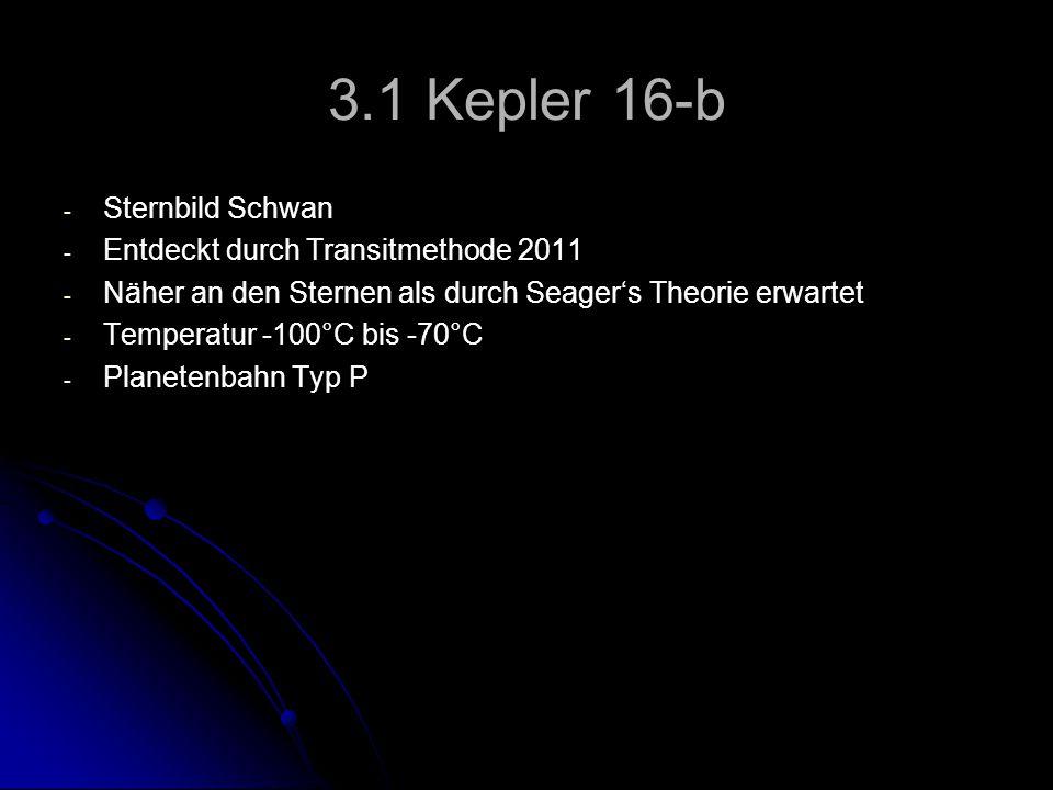 3.1 Kepler 16-b Sternbild Schwan Entdeckt durch Transitmethode 2011