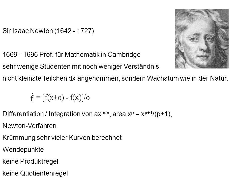 Sir Isaac Newton (1642 - 1727) 1669 - 1696 Prof. für Mathematik in Cambridge. sehr wenige Studenten mit noch weniger Verständnis.