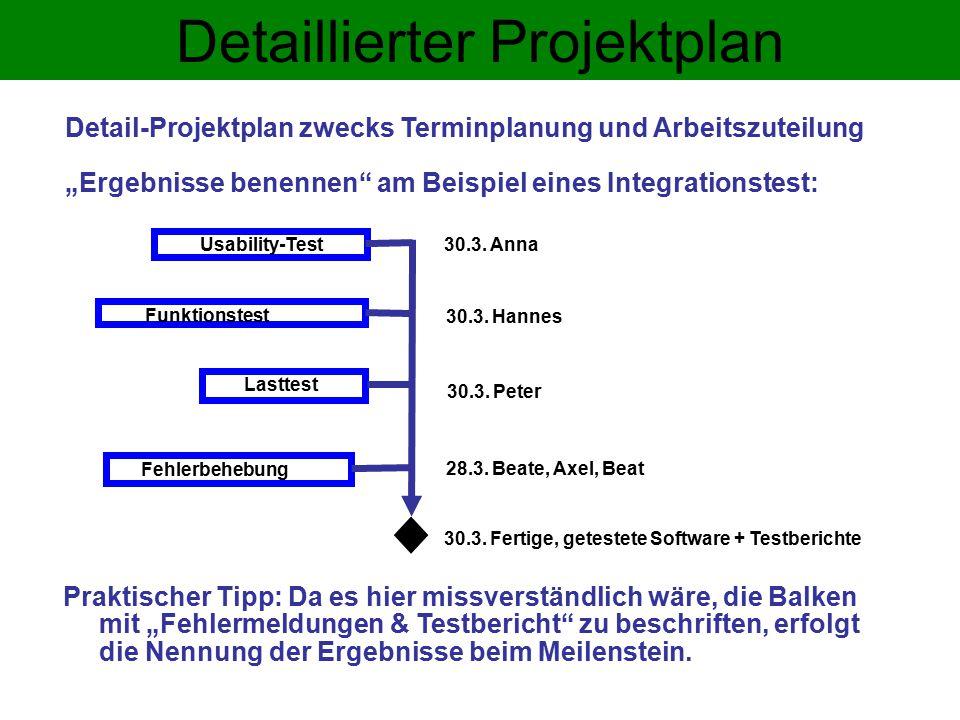 Detaillierter Projektplan